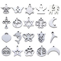 100pcs 304 Stainless Steel Charms Laser Cut Mini Smooth Metal Pendants 12~17mm