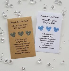 10 Personalised Wedding Anniversary Forget Me Not Seed Envelope Favours