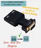 VGA INPUT to HDMI OUTPUT Video Audio Converter Cable Adapter 1080 For TV PC DVD_