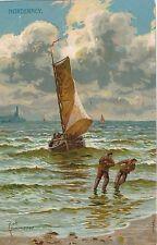 POSTCARD  SHIPS/ YACHTS  Hauling in the Boat    NORDERNEY     Kammerer