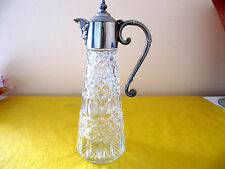 VINTAGE SILVER PLATED(ENGLAND) GLASS DECANTER/CLARET JUG  tall 11""
