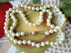 """14K YELLOW GOLD AKOYA SALTWATER PEARL CLASP & 6.5 MM STRAND NECKLACE IN CASE-21"""""""
