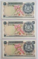 Singapore $1 Orchid Series Banknote GKS 3pcs RN B/14 956162~64 UNC