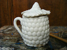 POT ANCIEN MOUTARDIER BISCUIT XIXème- porcelaine blanche BARBOTINE