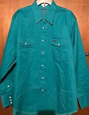 Wrangler Men's Advanced Comfort Western L/S Shirt Sz XLT TALL Teal Green NEW NWT