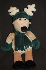 "Reindeer Pj's Plush Gift Bag Green Hat Scarf Mittens 20"" Stuffed Animal Lovey"