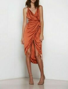 Premonition Prestige Rust Wrap Dress Size 8 BNWT