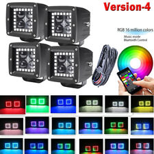 3Inch 4D CREE Color Change Chasing Led Work Light Fog Pods RGB Halo Ring Pack 4