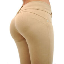 Sexy Women Middle Waist Pants Push Up Hip Solid Trousers Slim Elastic Leggings