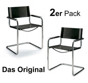 2 x Freischwinger Konferenzstuhl Delta Schwarz - Bauhaus Schwingstuhl