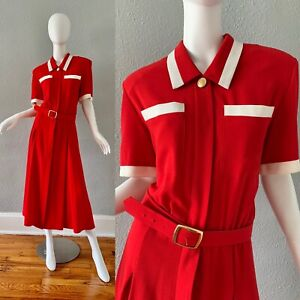 Vintage 80s 40s Red Colorblock Button Retro Nautical Secretary Shirt Dress XL
