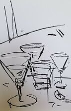 "JOSE TRUJILLO OIL PASTELS Painting ABSTRACT Minimalism 13X19"" ORIGINAL GLASSES"