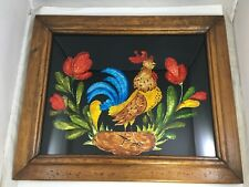 Vintage Rooster Painting Painted Foil Folk Art Rustic Wood Framed Farmhouse Art