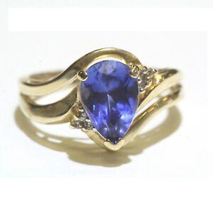 14k yellow gold .03ct I1 H diamond created pear sapphire ring 4.2g ladies 6.5