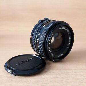 Vintage Canon Lens FD 50mm 1:1.8 Black UV Filter Great Condition with Cap Japan