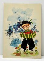 Boy With Accordion Windmill & Boats in Distance Dutch Art Postcard J9