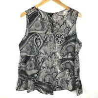 Talbots Womens Size L Keyhole Neckline Drawstring Paisley Sleeveless Tank Top