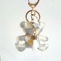 "Teddy Bear Purse Bag Charm Keychain Handbag Faux Leather White 3"" White Tassel"