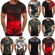 Figurbetonte Herren-T-Shirts mit Rundhals und Camouflage