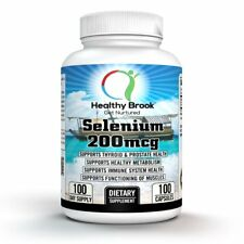 Healthy Brook Selenium 200 mcg 100 c THYROID PROSTATE FERTILITY WEIGHT LOSS
