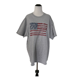 Fruit of the Loom 2XL Gray Tee T Shirt American Flag USA Patriotic