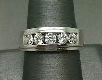 1Ct Round Cut Diamond Five Stone Engagement Mens Band Ring 14K Solid White Gold