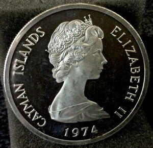Large World Silver Coin - Unc. 1974 Cayman Islands 5 Dollar Proof #328