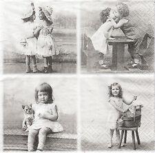 2 Serviettes en papier Vignettes Enfants Amour Paper Napkins Love Sagen Vintage