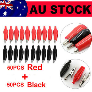 100pcs Black And Red Soft Plastic Coated Testing Probe Aligator Clips Crocodile
