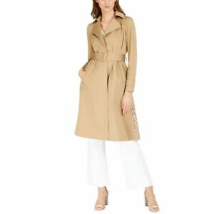 INC NEW Women's Long Lace-back Belted Trench Jacket Top TEDO