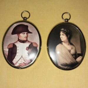 Pair of Oval Portrait Miniatures of Napoleon and Josephine in brass bezels