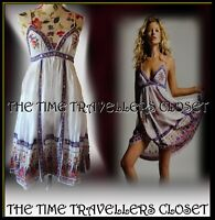 Kate Moss Topshop White Cotton Midi Indian Sundress 70s Boho Festival UK 10 12