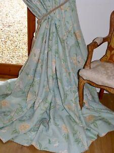 """LAURA ASHLEY CURTAINS Summer Palace EAU DE NIL Bird Floral Ea150""""W 96""""D Blackout"""