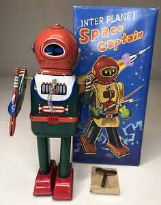 Reproduction of 1970's T&M Tin-Litho Key Wind-Up Inter Planet Space Captain