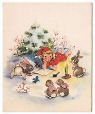 UNUSED Vintage Greeting Card Christmas Angel Writing Letter w/ Animals Blank L16