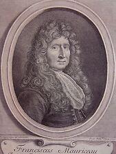 PICART ROMUS: Portrait de Franciscus Mauriceau d'apres Boulagne major. 18 EME