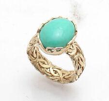 Sz 8 Technibond Turquoise Gemstone Byzantine Ring 14K Yellow Gold Clad Silver