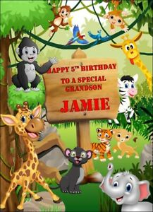 PERSONALISED Jungle Animal Birthday card zoo Son Sister Daughter Grandson Niece
