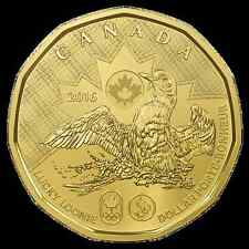 2016 CANADA OLYMPIC LUCKY LOONIE $1 COIN UNC. RELEASED FOR RIO de Janeiro Brazil