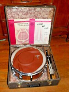 """VTG Slingerland Wood Grain Student Model 5x14"""" 6-Lug Snare Drum with stand case+"""