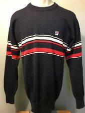 Vtg 70s 80s Fila Blue Red White Wool Ski Sweater Mens ML Tennis Borg Crewneck