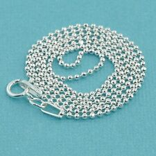 """1.5MM Sterling Silver Ball Chain Necklace With Springring Clasp 18"""" Length"""
