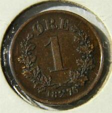 Norway, Swedish rule: 1876 bronze 1 Ore, 1st yr of issue; brown Au