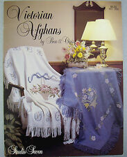 Cross Stitch Flower Basket Afghan Pattern Leaflet Throw Blanket Peony Counted