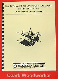 DELTA Lathe Compound Slide Rest 46-961, 46-965  Operator's & Parts Manual 0210