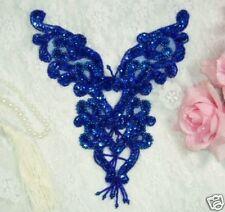 0035 ~ ROYAL BLUE BODICE YOKE SEQUIN BEADED APPLIQUE Sewing Crafts Motif  :)