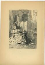ANTIQUE VERSAILLES COSTUME PERIOD DRESS MAN WOMAN LOVE ROMANCE OLD ART PRINT