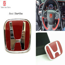 for Honda Civic Accord Red H Logo Steering wheel sticker emblem Badge(50 x 40mm)