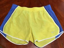 NIKE WOMENS TEMPO RUNNING SHORTS DRI FIT YELLOW W/BLUE BUILTIN BRIEF SZ S