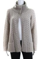 Armani Collezioni Womens Long Sleeve Cowl Neck Cardigan Sweater Beige Size 8